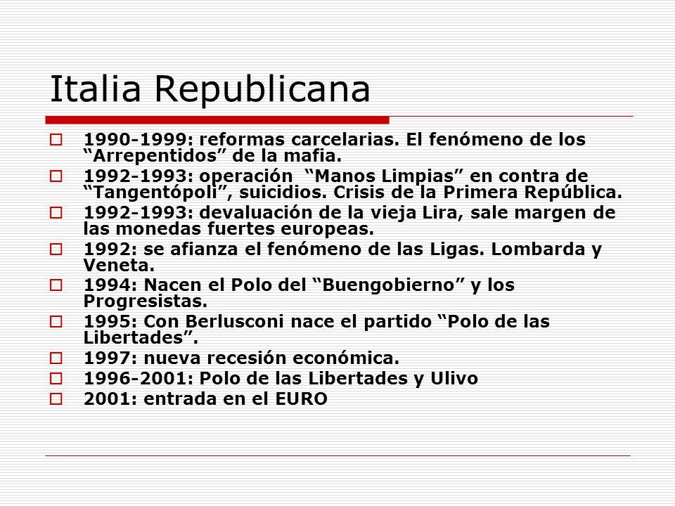 Italia Republicana 1990-1999: reformas carcelarias. El fenómeno de los Arrepentidos de la mafia.
