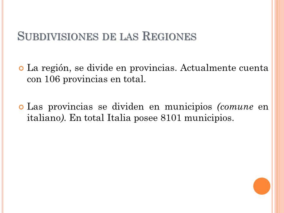 Subdivisiones de las Regiones