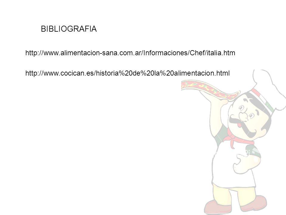 BIBLIOGRAFIA http://www.alimentacion-sana.com.ar/Informaciones/Chef/italia.htm.