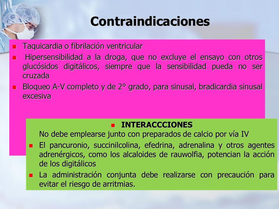Contraindicaciones Taquicardia o fibrilación ventricular