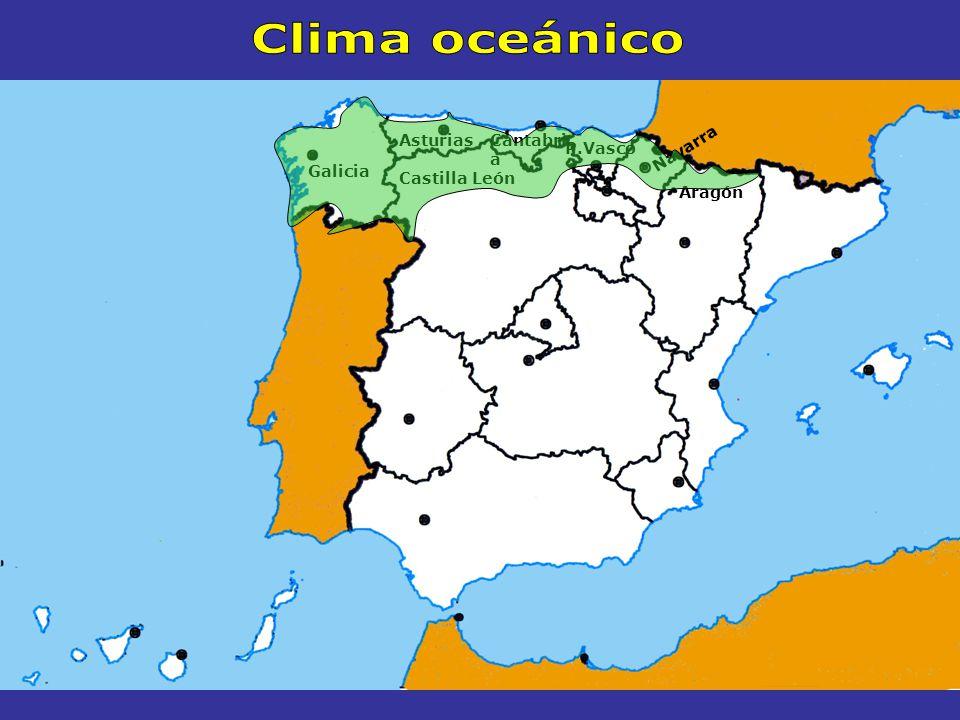 Clima oceánico Asturias Cantabria P.Vasco Navarra Galicia