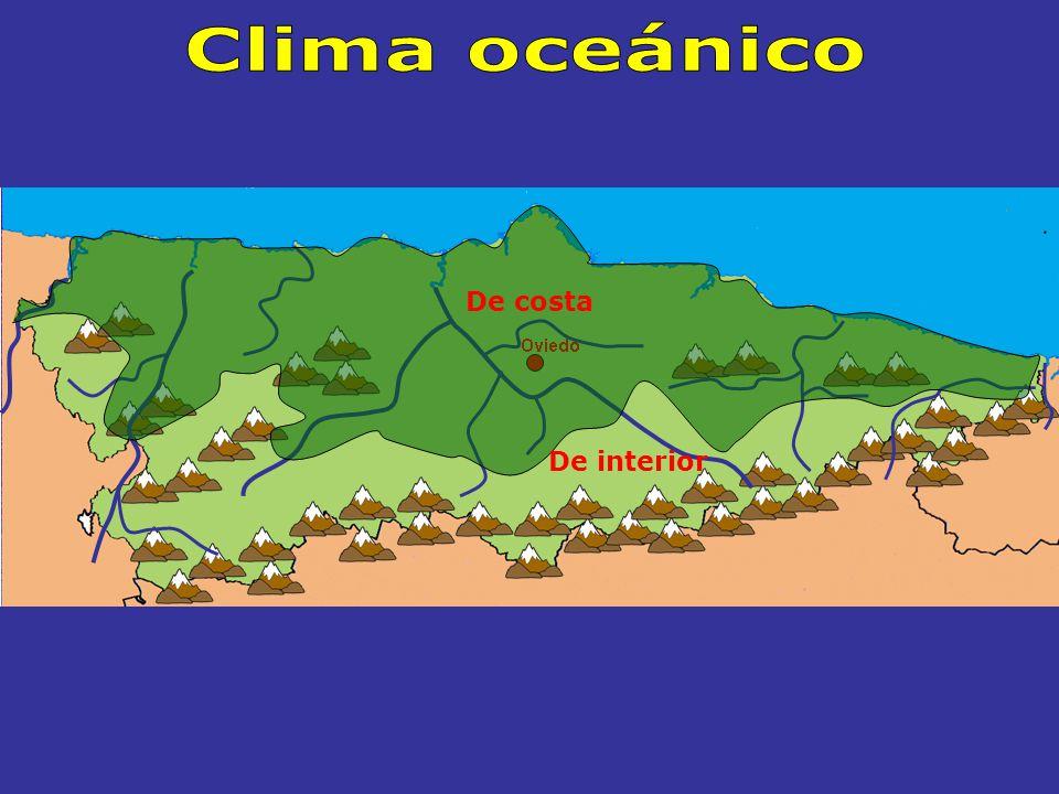 Clima oceánico De costa De interior