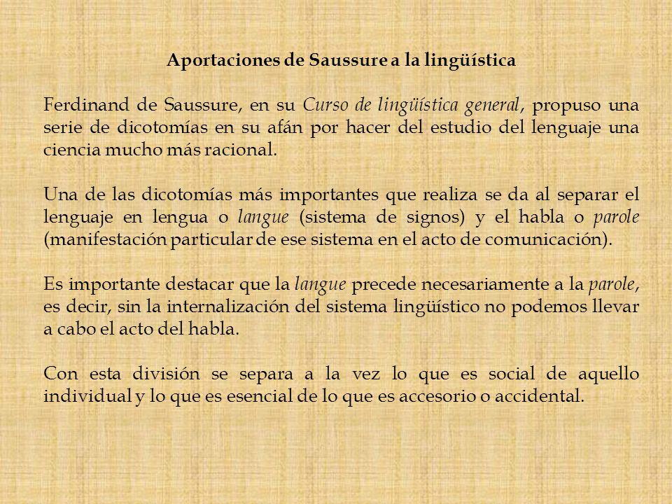 Aportaciones de Saussure a la lingüística
