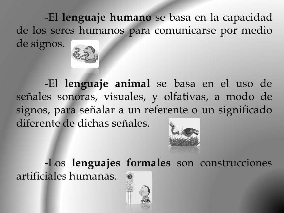 -El lenguaje humano se basa en la capacidad de los seres humanos para comunicarse por medio de signos.