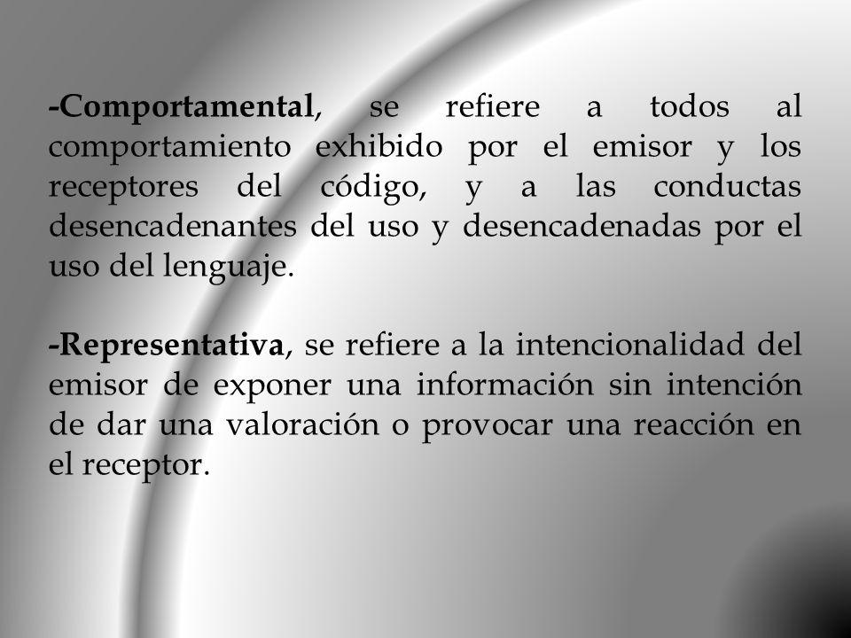 -Comportamental, se refiere a todos al comportamiento exhibido por el emisor y los receptores del código, y a las conductas desencadenantes del uso y desencadenadas por el uso del lenguaje.