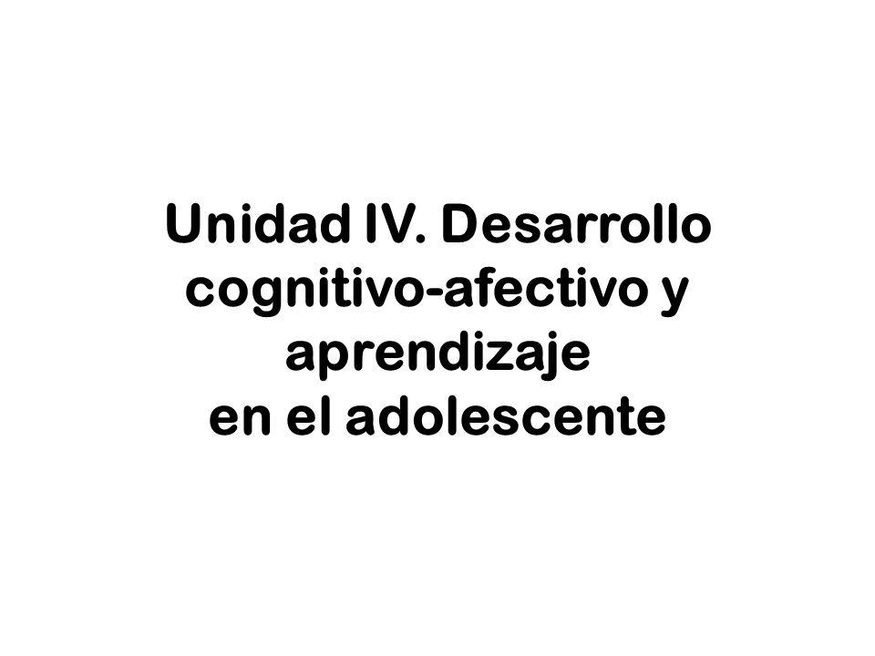 Unidad IV. Desarrollo cognitivo-afectivo y aprendizaje en el adolescente