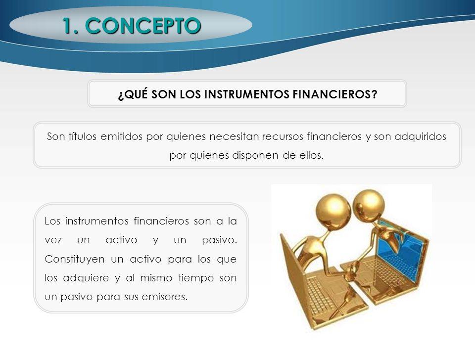 1. CONCEPTO ¿QUÉ SON LOS INSTRUMENTOS FINANCIEROS