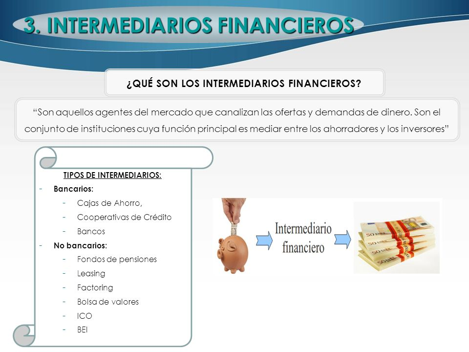 3. INTERMEDIARIOS FINANCIEROS TIPOS DE INTERMEDIARIOS: