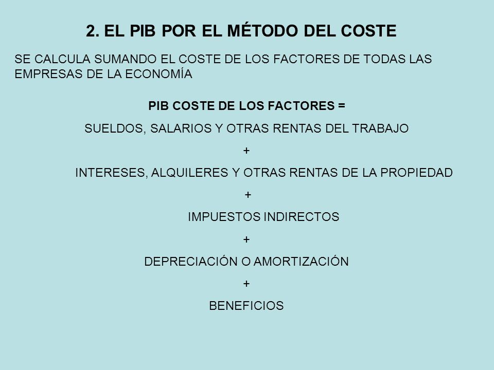 2. EL PIB POR EL MÉTODO DEL COSTE