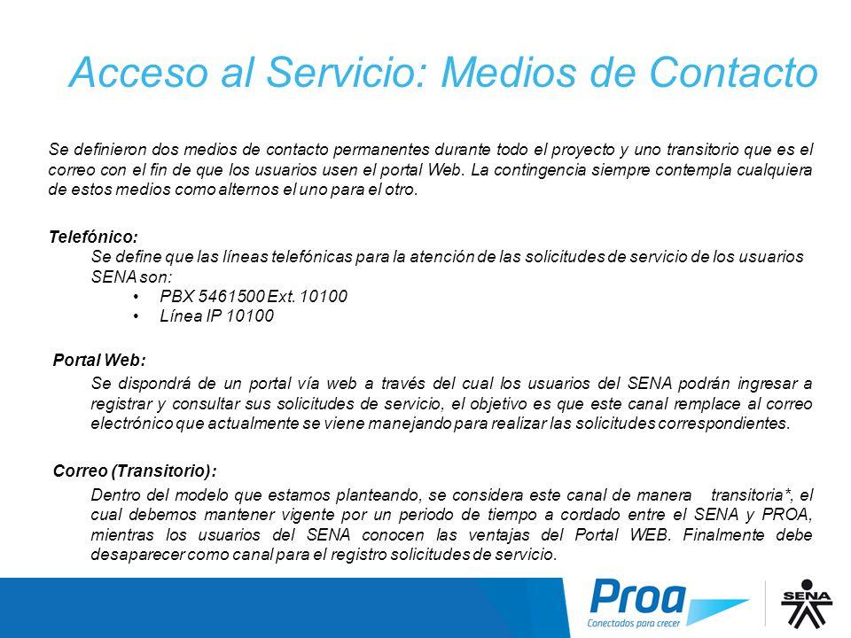 Acceso al Servicio: Medios de Contacto