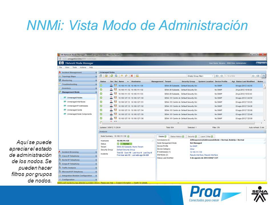 NNMi: Vista Modo de Administración