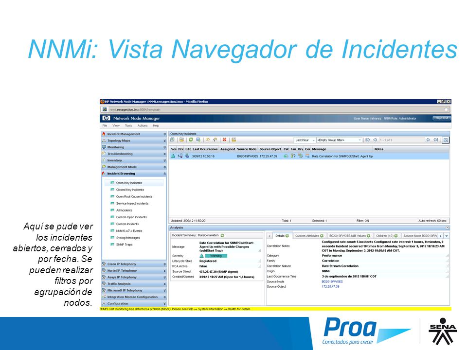 NNMi: Vista Navegador de Incidentes