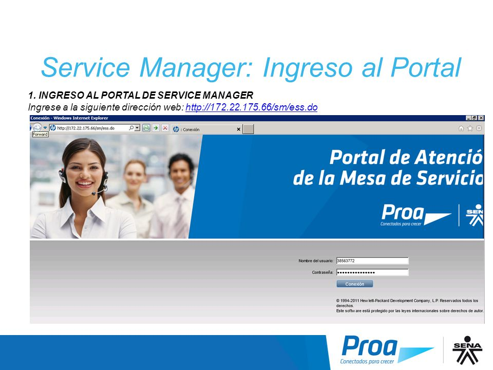 Service Manager: Ingreso al Portal