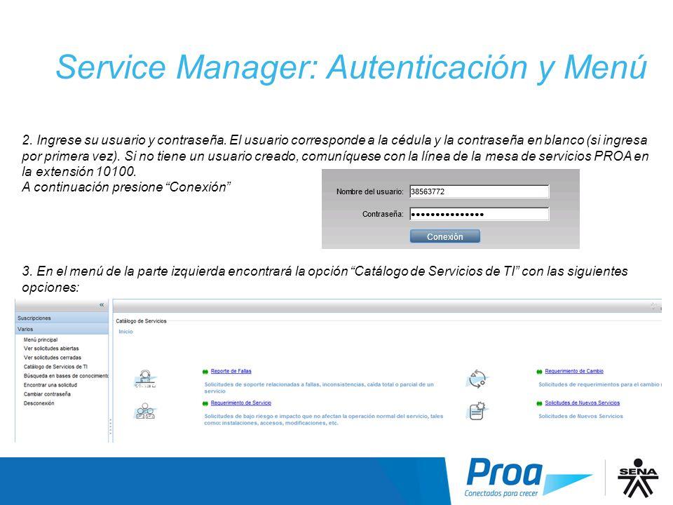 Service Manager: Autenticación y Menú
