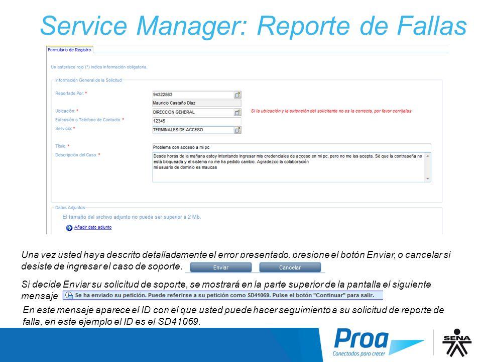 Service Manager: Reporte de Fallas