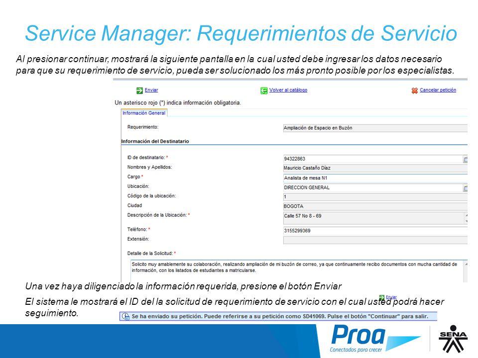 Service Manager: Requerimientos de Servicio