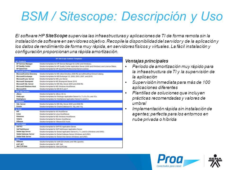 BSM / Sitescope: Descripción y Uso II