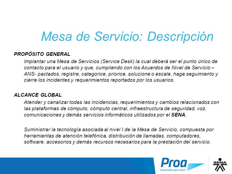 Mesa de Servicio: Descripción
