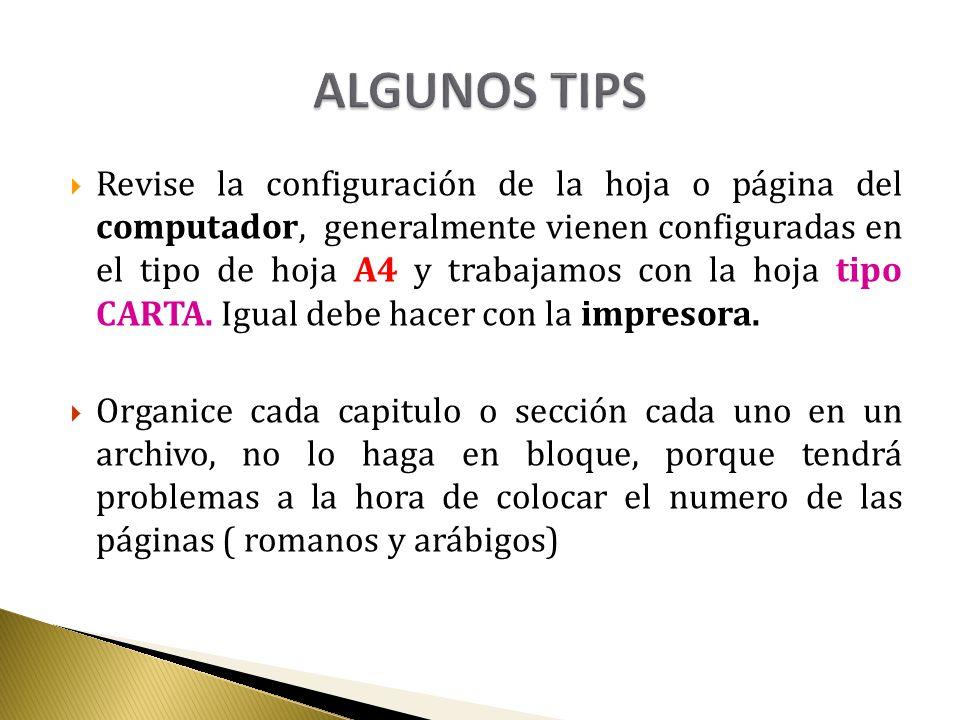 ALGUNOS TIPS