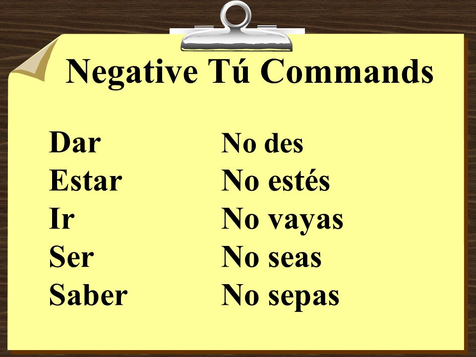 Negative Tú Commands Dar No des Estar No estés Ir No vayas Ser No seas