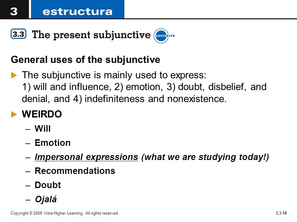 General uses of the subjunctive
