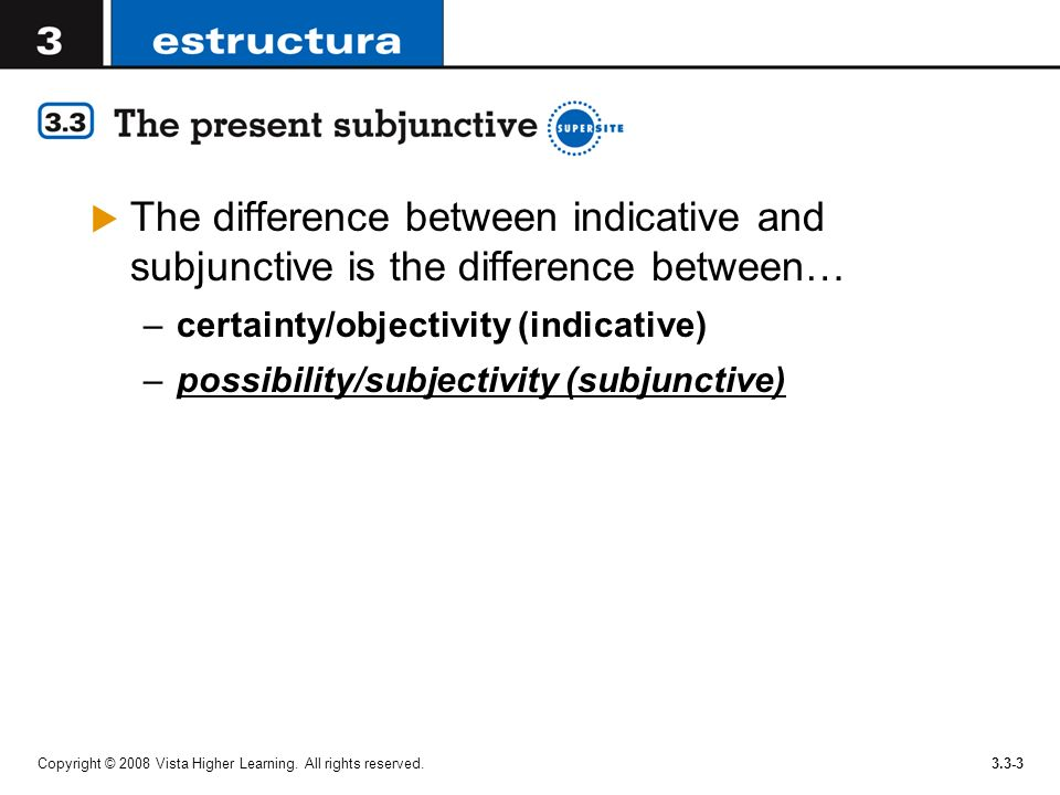 The difference between indicative and subjunctive is the difference between…