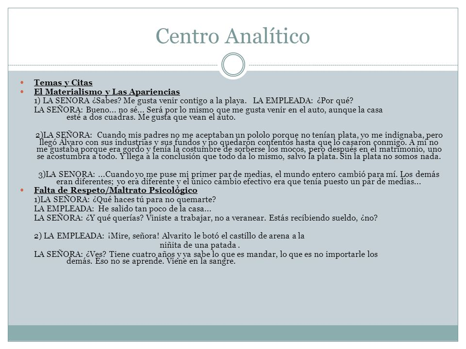 Centro Analítico Temas y Citas El Materialismo y Las Apariencias