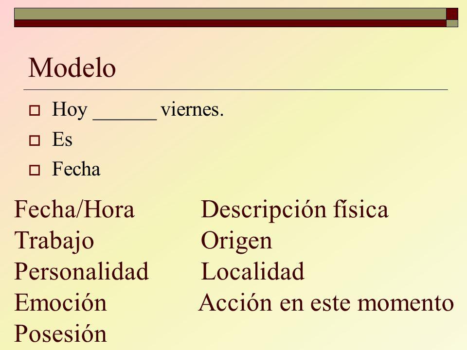 Modelo Hoy ______ viernes. Es. Fecha.
