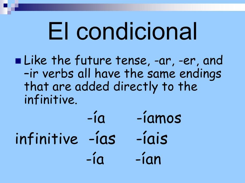 El condicional infinitive -ías -íais