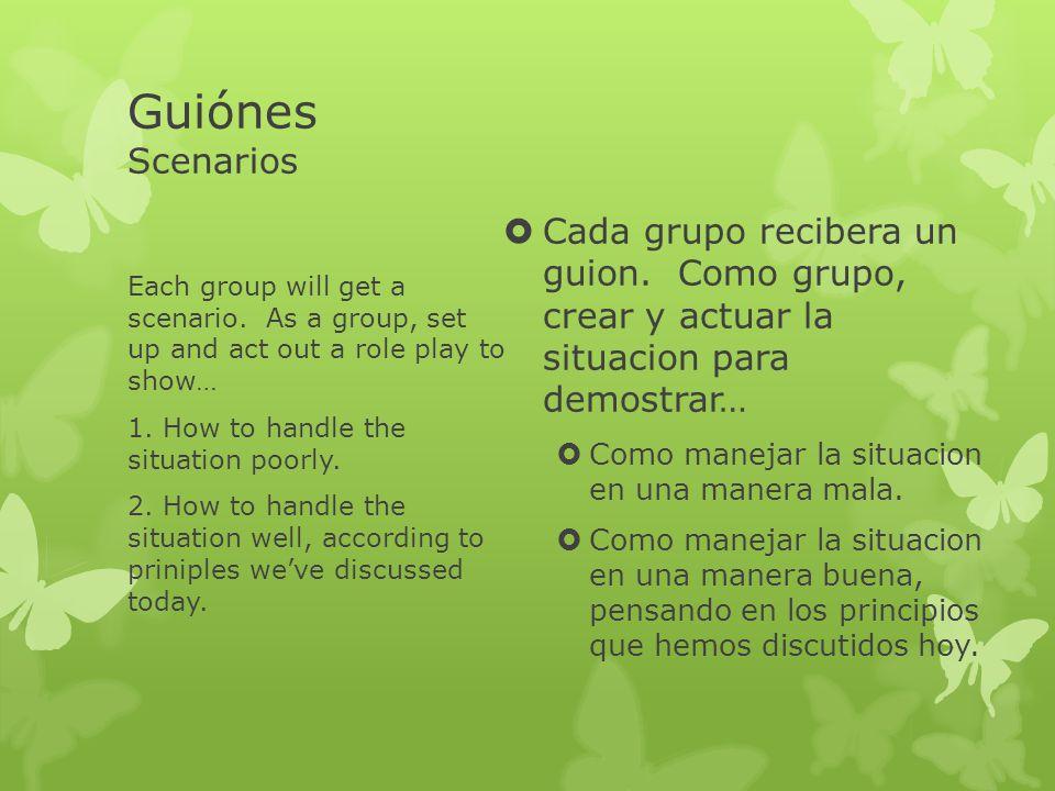 Guiónes Scenarios Cada grupo recibera un guion. Como grupo, crear y actuar la situacion para demostrar…