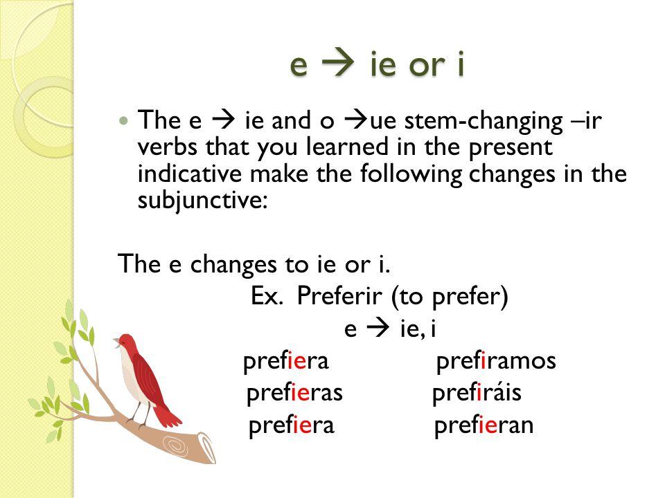Ex. Preferir (to prefer)