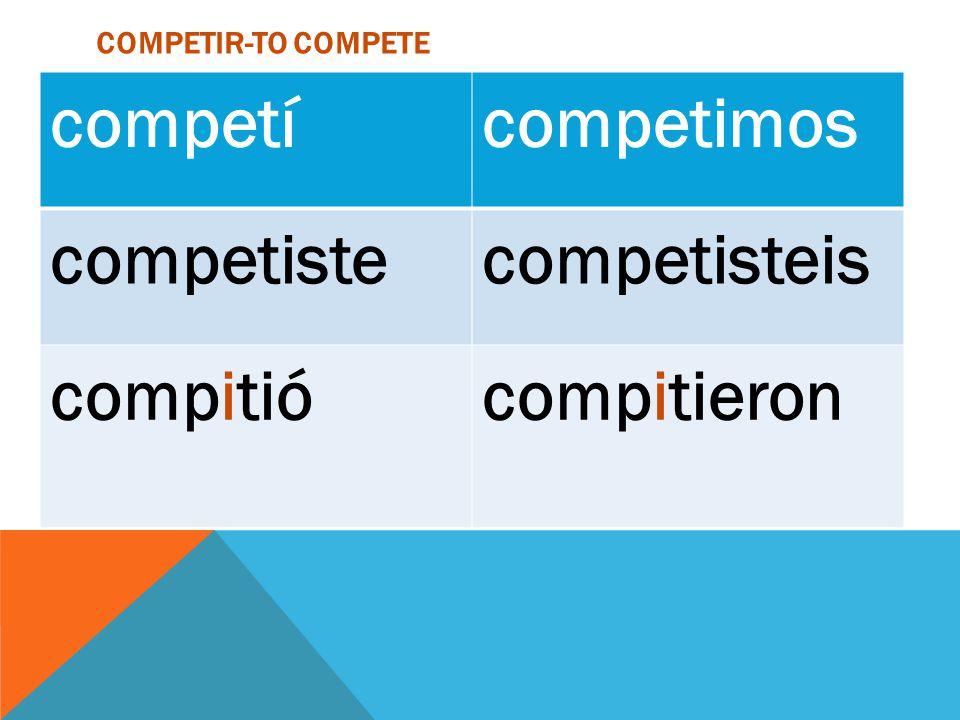 competí competimos competiste competisteis compitió compitieron