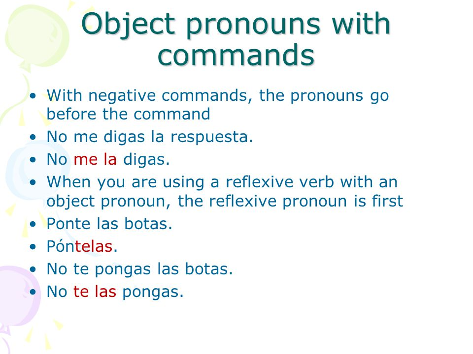 Object pronouns with commands