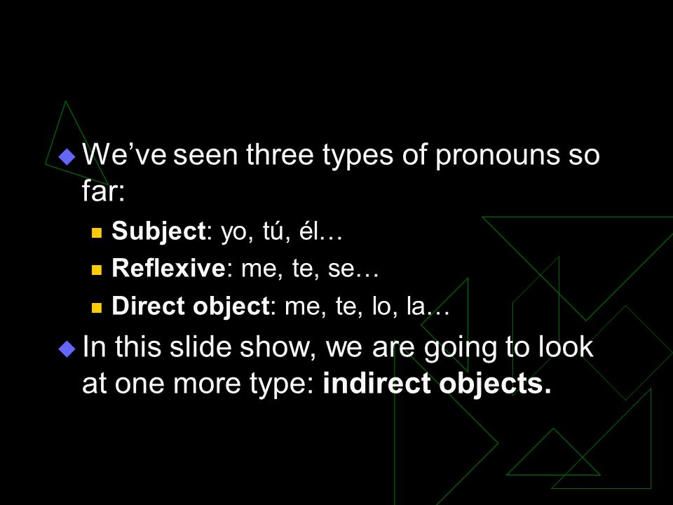 We've seen three types of pronouns so far: