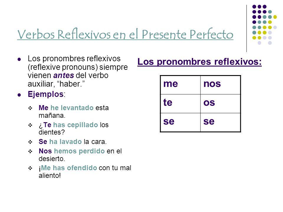 Verbos Reflexivos en el Presente Perfecto