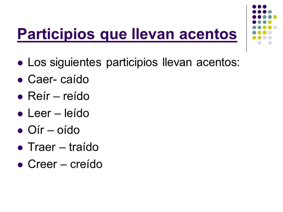 Participios que llevan acentos