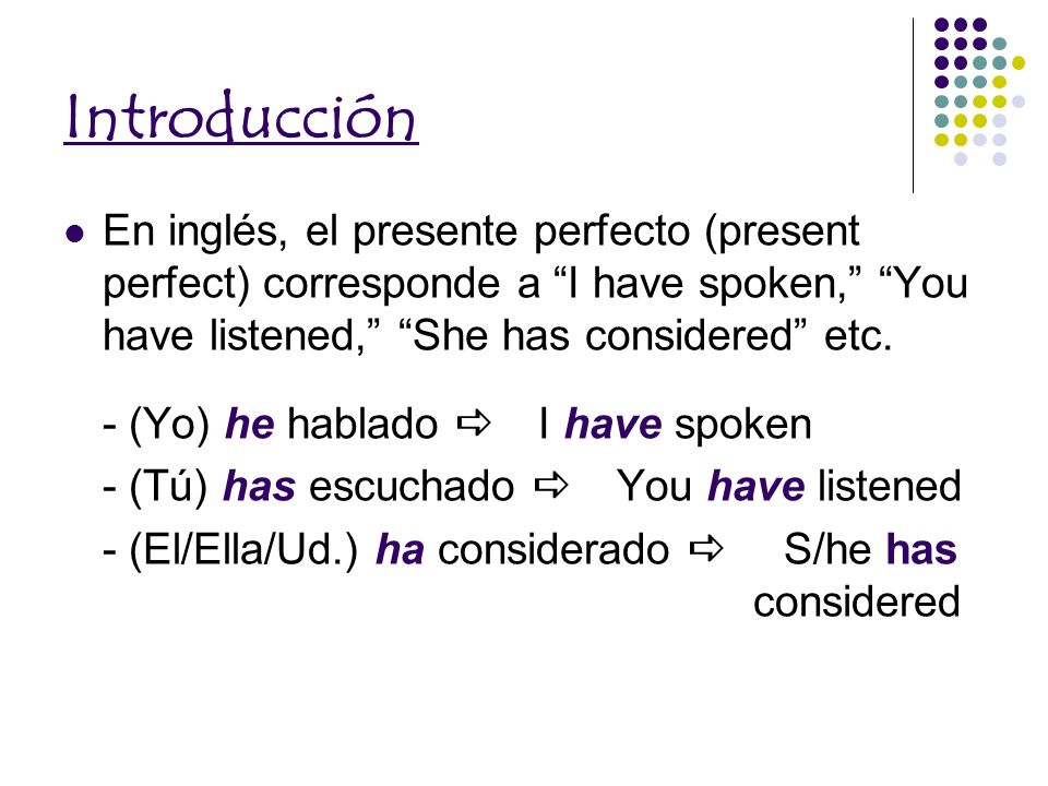IntroducciónEn inglés, el presente perfecto (present perfect) corresponde a I have spoken, You have listened, She has considered etc.