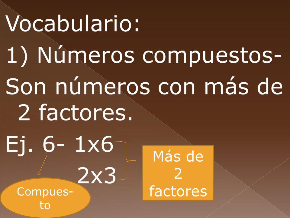 Vocabulario: 1) Números compuestos- Son números con más de 2 factores