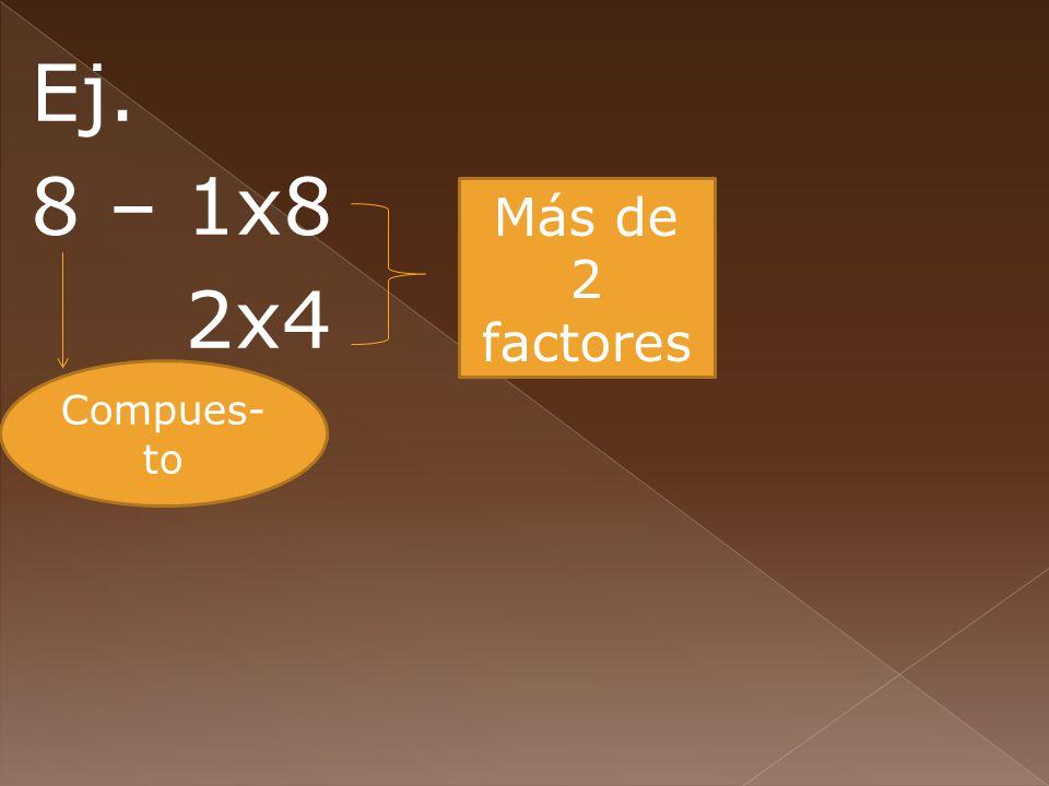 Ej. 8 – 1x8 2x4 Más de 2 factores Compues-to