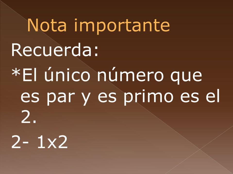 Nota importante Recuerda: *El único número que es par y es primo es el 2. 2- 1x2