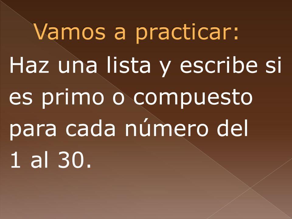 Vamos a practicar: Haz una lista y escribe si es primo o compuesto para cada número del 1 al 30.