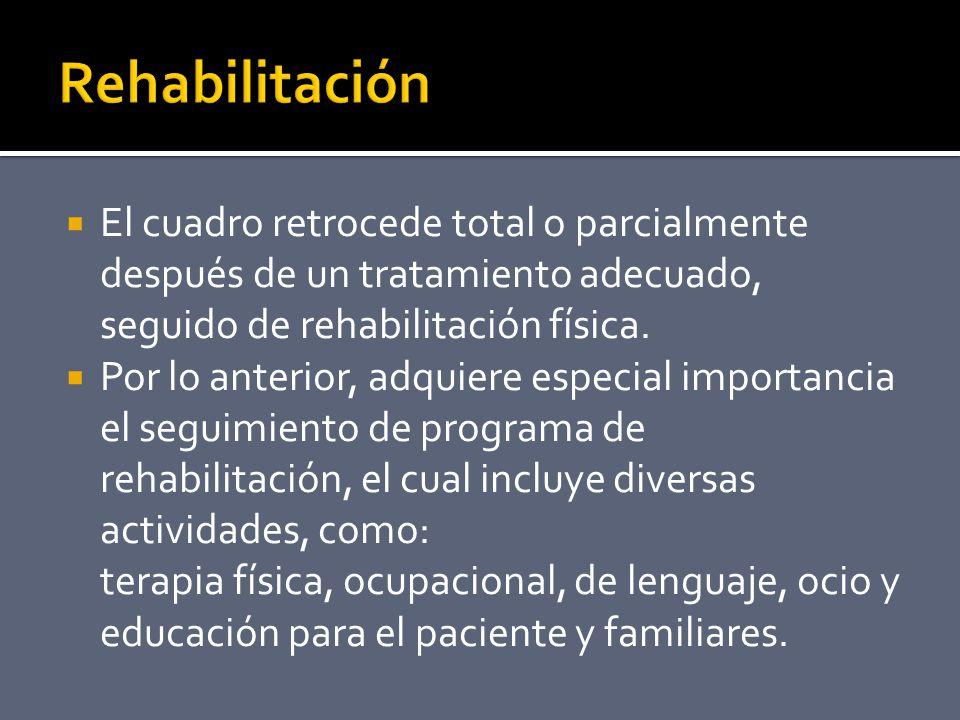 Rehabilitación El cuadro retrocede total o parcialmente después de un tratamiento adecuado, seguido de rehabilitación física.