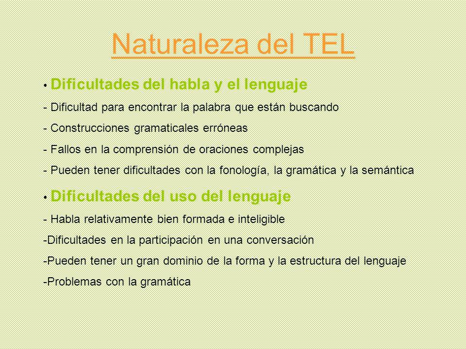 Naturaleza del TEL Dificultades del habla y el lenguaje