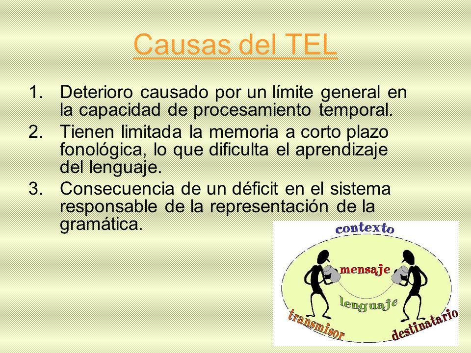 Causas del TEL Deterioro causado por un límite general en la capacidad de procesamiento temporal.