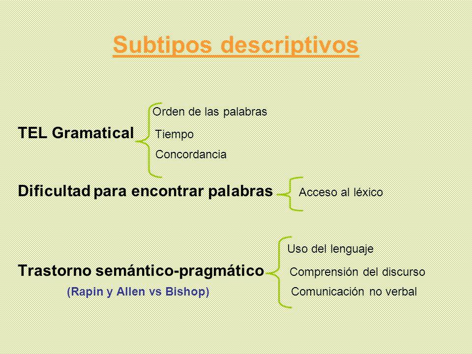 Subtipos descriptivos