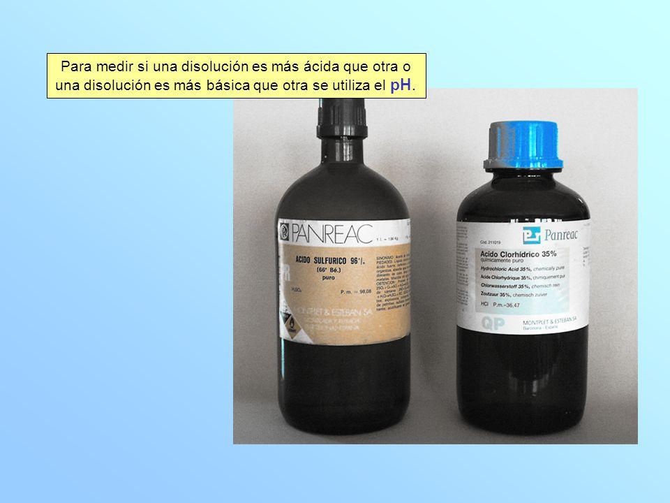 Para medir si una disolución es más ácida que otra o una disolución es más básica que otra se utiliza el pH.