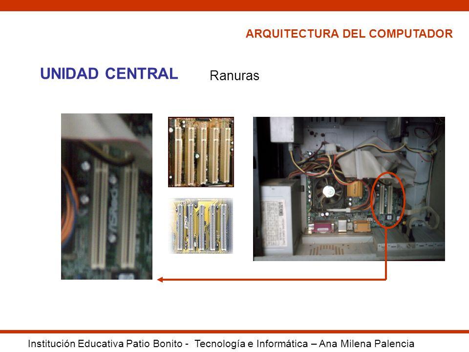 UNIDAD CENTRAL Ranuras ARQUITECTURA DEL COMPUTADOR
