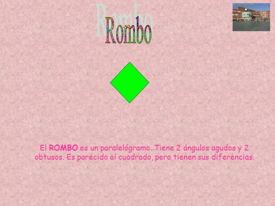 Rombo El ROMBO es un paralelógramo. Tiene 2 ángulos agudos y 2 obtusos.