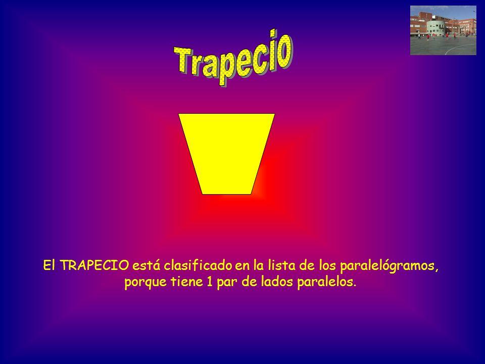 Trapecio El TRAPECIO está clasificado en la lista de los paralelógramos, porque tiene 1 par de lados paralelos.
