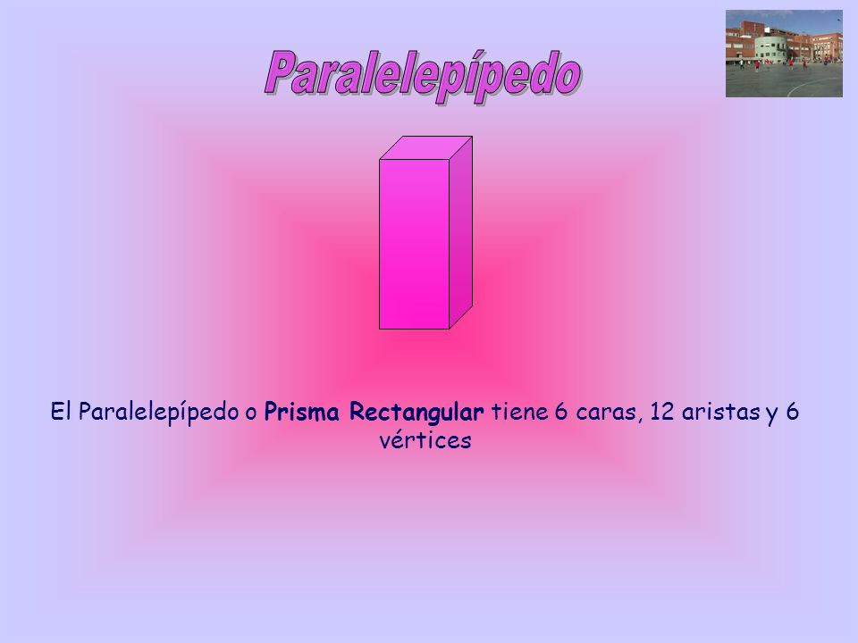 Paralelepípedo El Paralelepípedo o Prisma Rectangular tiene 6 caras, 12 aristas y 6 vértices